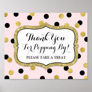 Popcorn Bar Sign Pink Black Gold Confetti