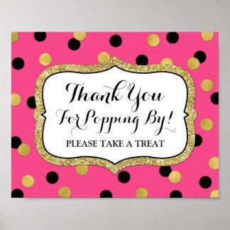 Popcorn Bar Sign Pink Black Gold Confetti Poster