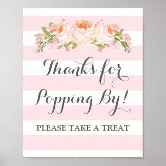 Popcorn Bar Sign Pink Flowers Stripes Poster