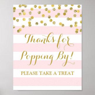 Popcorn Bar Sign Pink Stripes Gold Confetti Poster