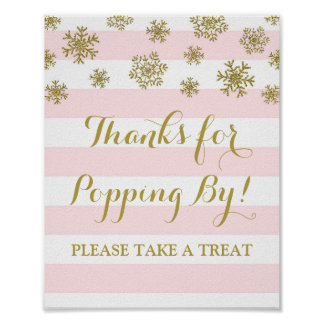Popcorn Bar Sign Pink Stripes Gold Snowflakes
