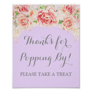 Popcorn Bar Sign Pink Watercolor Floral Purple Poster