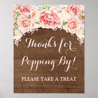 Popcorn Bar Sign Pink Watercolor Floral Wood Poster