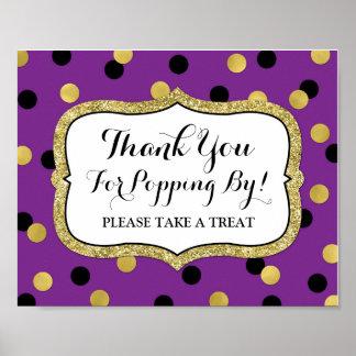 Popcorn Bar Sign Purple Black Gold Confetti