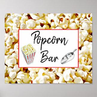 Popcorn Bar Wedding or Baby Shower Sign Poster