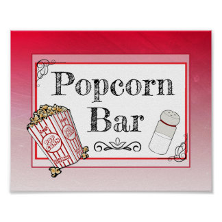 Popcorn Bar Wedding Red Sign Poster