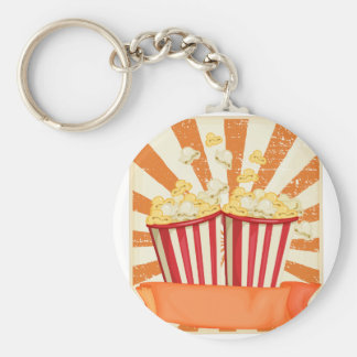 Popcorn in cups with banner basic round button key ring