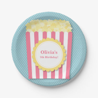 Popcorn Movie Night Birthday Party Supplies Paper Plate