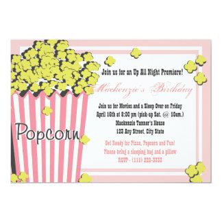 Popcorn Movie Sleepover 13 Cm X 18 Cm Invitation Card