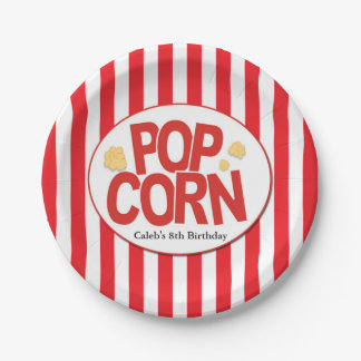 Popcorn Red & White Stripe Movie Party 7 Inch Paper Plate