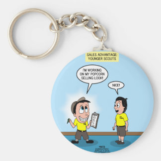 Popcorn Sales - The Cuteness Factor Basic Round Button Key Ring