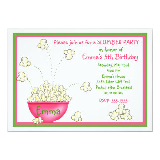 Popcorn Slumber Party Invitations