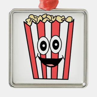 popcorn smiling metal ornament