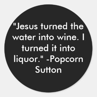 Popcorn Sutton Round Sticker