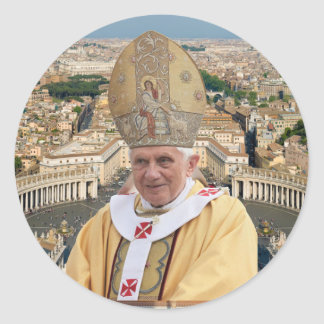 Pope Benedict XVI with the Vatican City Classic Round Sticker