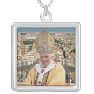 Pope Benedict XVI with the Vatican City Silver Plated Necklace