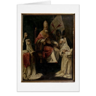 Pope Clement VIII blessing Carmelite Nuns (oil on Card