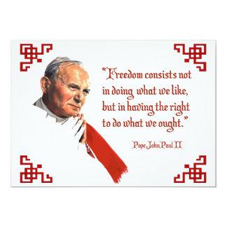 "Pope John Paul II Freedom Notecards 5"" X 7"" Invitation Card"