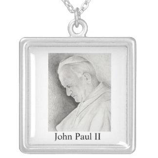 pope John Paul II Square Pendant Necklace