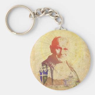 Pope John Paul II Papal Crest Basic Round Button Key Ring