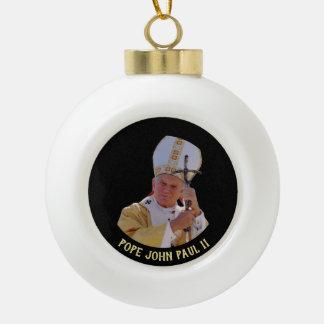 Pope John Paul II with Pastoral cross Jan Pawel Ceramic Ball Christmas Ornament