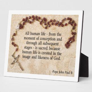 Pope John Paul Pro-Life Display Plaques