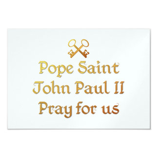 Pope Saint John Paul II Pray for us 9 Cm X 13 Cm Invitation Card