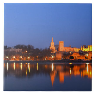 Pope's Palace in Avignon and the Rhone river at Large Square Tile