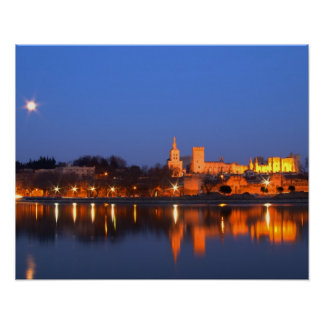 Pope's Palace in Avignon and the Rhone river at Poster
