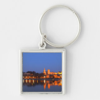 Pope's Palace in Avignon and the Rhone river at Silver-Colored Square Key Ring