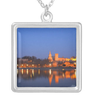 Pope's Palace in Avignon and the Rhone river at Square Pendant Necklace