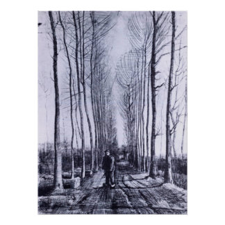 Poplar avenue by Vincent van Gogh Poster