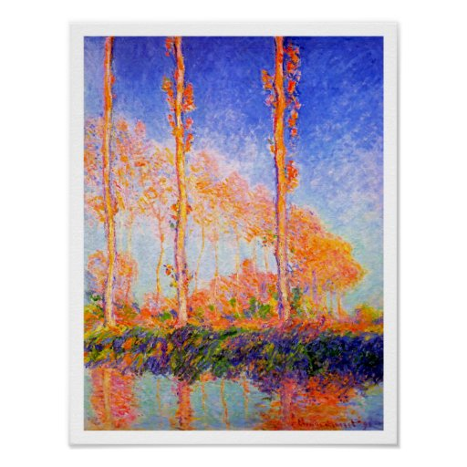 Poplars in the Sun by Claude Monet Poster