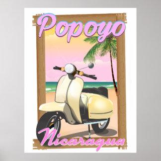 Popoyo Nicaragua beach travel poster