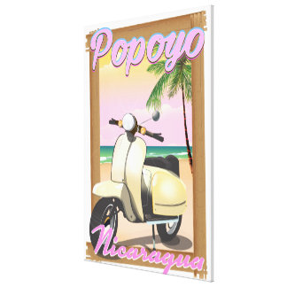 Popoyo Nicaragua beach travel poster Canvas Print