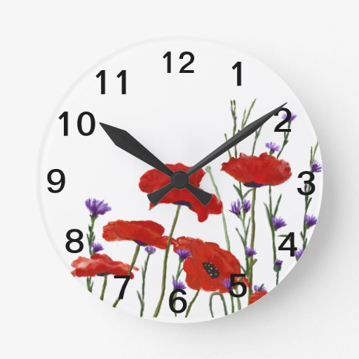 Poppies and Bachelor Buttons Round Wall Clock