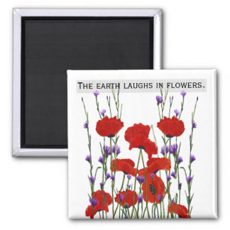 Poppies and Bachelor Buttons Magnet