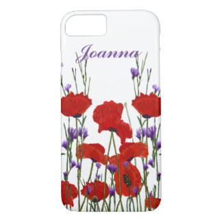 Poppies and Bachelor Buttons, Red and Purple iPhone 8/7 Case
