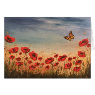 Poppies and butterflies greetings card
