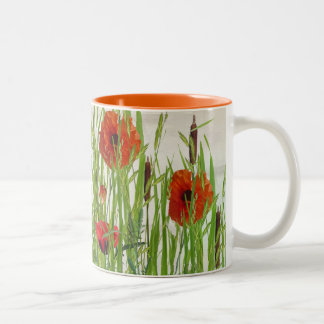 poppies and cattails Two-Tone coffee mug