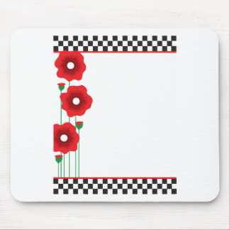 Poppies and Checks Mousepad