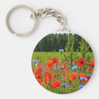 Poppies And Cornflowers Key Ring