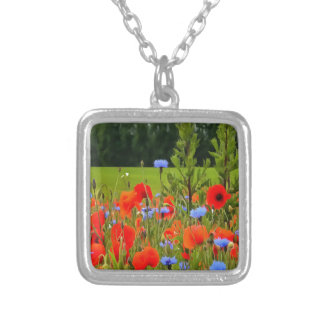Poppies And Cornflowers Silver Plated Necklace