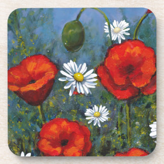 Poppies and Daisies: Floral Art, Flowers Coaster