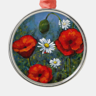 Poppies and Daisies: Floral Art, Flowers Metal Ornament
