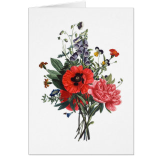 Poppies and Foxgloves Bouquet Card