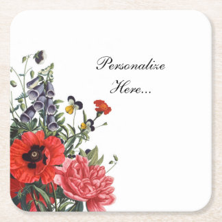 Poppies and Foxgloves Bouquet Square Paper Coaster