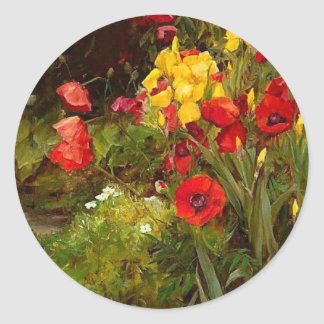 Poppies and Irises, fine art painting Classic Round Sticker