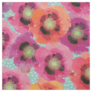 Poppies and Polka Dots Fabric
