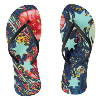 Poppies and stars modern colorful design thongs